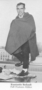 Konstantin Berlandt standing on a desk.